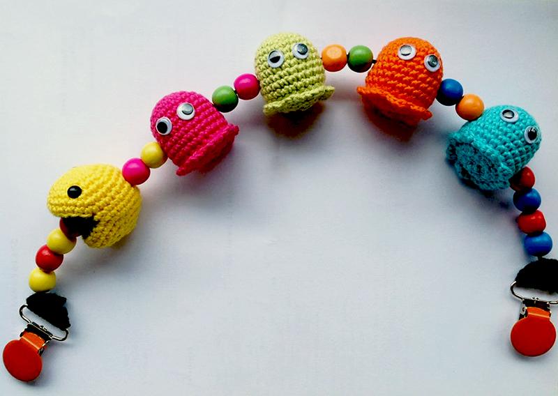 Hæklet barnevognskæde med Pacman