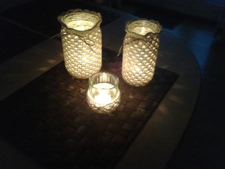 Betræk til syltetøjsglas – hæklede lyslygter