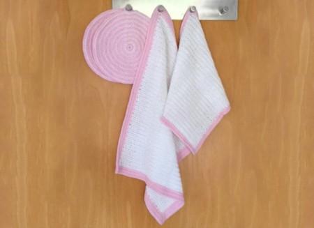 Hæklet håndklæde og karklud